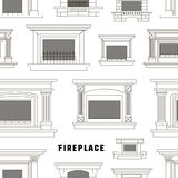 Set of vector fireplace icons design pattern. Set of vector fireplace icons and fireplace design pattern. Vector illustration, EPS 10 Royalty Free Stock Photos