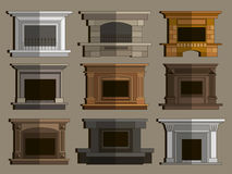 Set of vector fireplace icons and fireplace design. Vector illustration, EPS 10 Stock Image