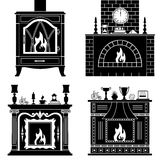 Set of vector fireplaces silhouettes. Fireplaces silhouettes isolated on white background. Set stencil fireplaces. Vector pattern Stock Photography