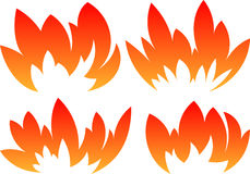 Set of 4 vector fires in cartoon style Royalty Free Stock Photo