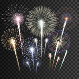 Set of  vector fireworks Royalty Free Stock Photography