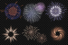 Set of  vector fireworks on a transparent background.  Stock Image