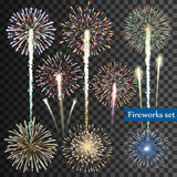Set of  vector fireworks. On transparent background Stock Images