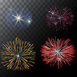 Set of  vector fireworks on a transparent background. EPS. Set of  vector fireworks on a transparent background Stock Photos