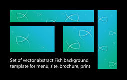 Set of vector fish background template for menu, brochure, print Stock Photo