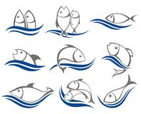 Set of vector fish icons. Set of gray and blue  fish icons Stock Photos