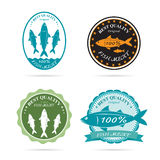 Set of vector an fish label Stock Photography