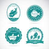 Set of vector fish labels. On white background Stock Images