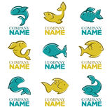 Set of vector fish logo, icons, signs,. Symbols and emblems Royalty Free Stock Images