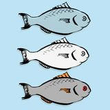 Set of vector fishes Royalty Free Stock Photography