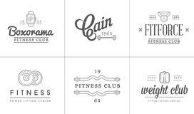Set of Vector Fitness Aerobics Gym Elements and Fitness Icons Illustration can be used as Logo Stock Photography
