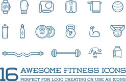 Set of Vector Fitness Aerobics Gym Elements. And Fitness Icons Illustration can be used as Logo or Icon in premium quality Stock Photos