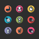 Set of vector fitness longshadow icons Stock Photography