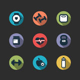 Set of vector fitness longshadow icons Royalty Free Stock Image