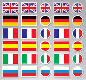 A set of vector flag buttons Royalty Free Stock Photos