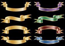 Set of vector flag scroll ribbon banners. Stock Photo