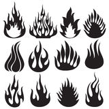 Set of vector flames Royalty Free Stock Images