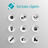 Set of vector flat black icon sport Royalty Free Stock Photos