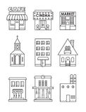 Set of vector flat black and white icons of buildings Royalty Free Stock Photo