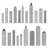 Set of vector flat building icons isolated on white background Royalty Free Stock Photo
