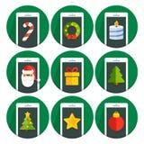 Set vector flat circle icons christmas. Collection vector flat circle icons christmas Stock Image