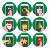 Set vector flat circle icons christmas. Collection vector flat circle icons christmas Royalty Free Stock Photography