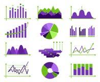 Set of vector flat design business data market elements bar pie Royalty Free Stock Image