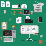 Set of vector flat design concept icons of office equipment Royalty Free Stock Photos