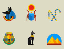 Set of vector flat design egypt travel icons culture ancient elements illustration. Royalty Free Stock Photos