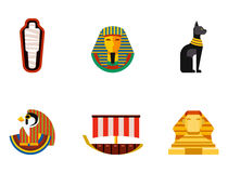 Set of vector flat design egypt travel icons culture ancient elements illustration. Royalty Free Stock Image