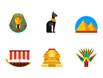 Set of vector flat design egypt travel icons culture ancient elements illustration. Royalty Free Stock Photo