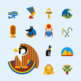 Set of vector flat design egypt travel icons culture ancient elements illustration. Royalty Free Stock Photography