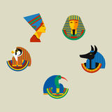 Set of vector flat design egypt travel icons culture ancient elements illustration. Set of vector flat design egypt travel icons infographics elements Royalty Free Stock Image