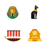 Set of vector flat design egypt travel icons culture ancient elements illustration. Set of vector flat design egypt travel icons infographics elements Royalty Free Stock Photo