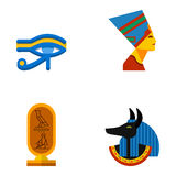 Set of vector flat design egypt travel icons culture ancient elements illustration. Stock Image