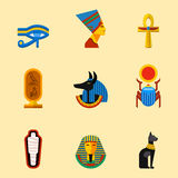 Set of vector flat design egypt travel icons culture ancient elements illustration. Stock Photos