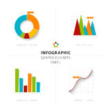 Set of vector flat design infographic charts and graphs Stock Images