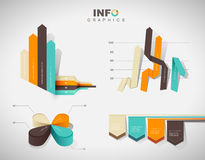 Set of vector flat design infographics statistics charts. And graphs - in four colors Royalty Free Stock Image