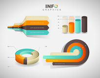 Set of vector flat design infographics statistics charts. And graphs - in four colors Stock Photos
