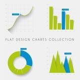 Set of vector flat design statistics charts and graphs. Set of vector flat design infographics statistics charts and graphs -blue and green version Stock Photos