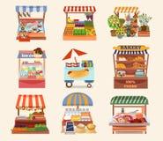 Set of vector flat design street shops. vector illustration