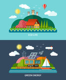 Set of vector flat ecology concept backgrounds Royalty Free Stock Photo