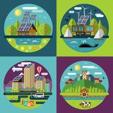 Set of vector flat ecology concept illustrations Royalty Free Stock Image