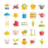 Set of vector flat farming and agriculture icons Royalty Free Stock Photography
