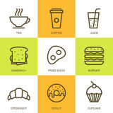 Set of vector flat food illustration. Breakfast multicolor icons. Tea, coffee, sandwich, egg, burger, croissant, donut and cupcake. Concept for breakfast menu royalty free illustration
