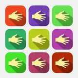 Set of vector flat icon hands eps Stock Photo