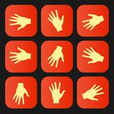 Set of vector flat icon hands eps Stock Photos