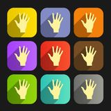 Set of vector flat icon hands eps Royalty Free Stock Photography