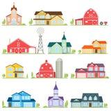 Set of vector flat icon suburban american houses. Stock Photos