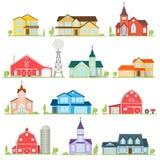 Set of vector flat icon suburban american houses. Stock Image